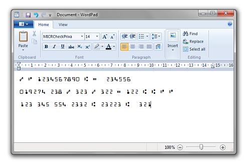 MICR E13B Font