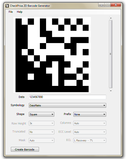 CheckPrixa 2D Barcode Generator screenshot
