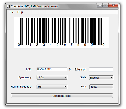 Click to view CheckPrixa UPC Generator 1.0 screenshot